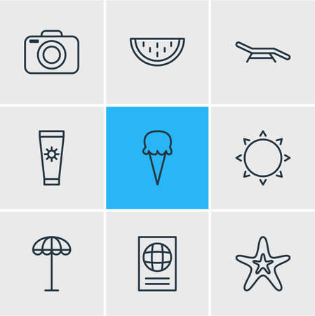 Vector illustration of season icons line style. Editable set of anti-sun cream, sunny, longue and other elements.
