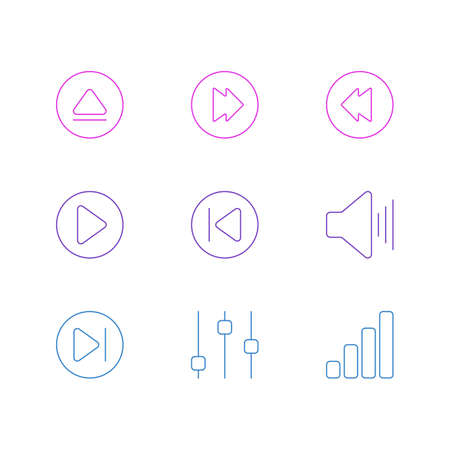 Vector illustration of 9 music icons line style. Editable set of equalizer, backward, next and other elements.