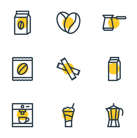 Vector illustration of java icons line style. Editable set of seed, espresso, package and other elements.