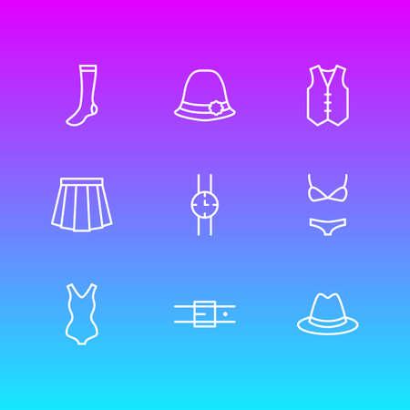 illustration of 9 garment icons line style. Editable set of waistcoat, hand clock, fedora elements.