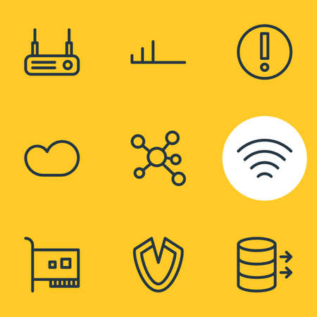 illustration of 9 web icons line style. Editable set of card, transfer, low connection and other elements.