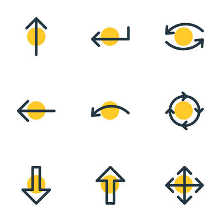 illustration of 9 arrows icons line style. Editable set of widen, circle, left and other elements.