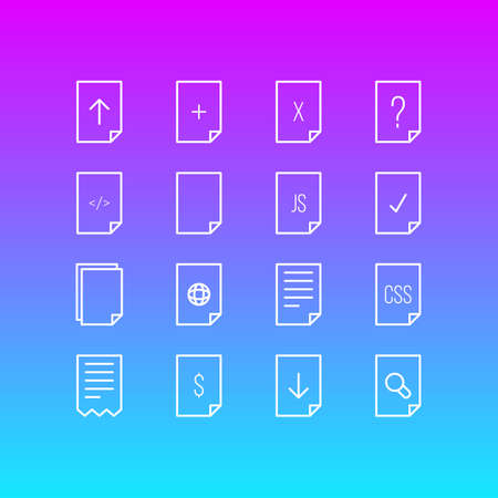 Vector illustration of document icons line style. Editable set of download, css, js and other icon elements.