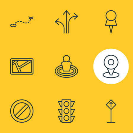 Vector illustration of direction icons line style. Editable set of place, path, stoplight and other icon elements.