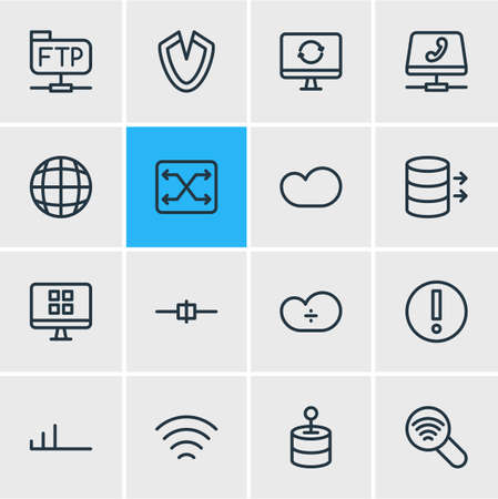 illustration of 16 network icons line style. Editable set of low connection, cloud storage, change and other elements.
