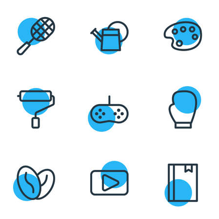 illustration of 9 entertainment icons line style. Editable set of joystick, tennis, video and other elements.