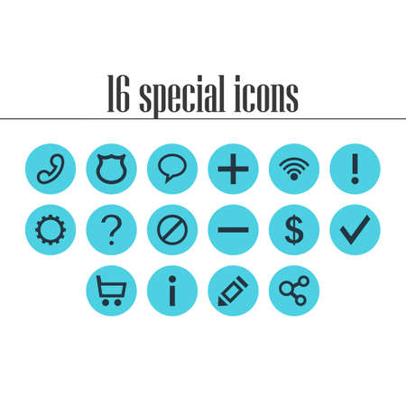 Vector illustration of 16 interface icons. Editable set of access denied, help, shield and other icon elements. Illustration