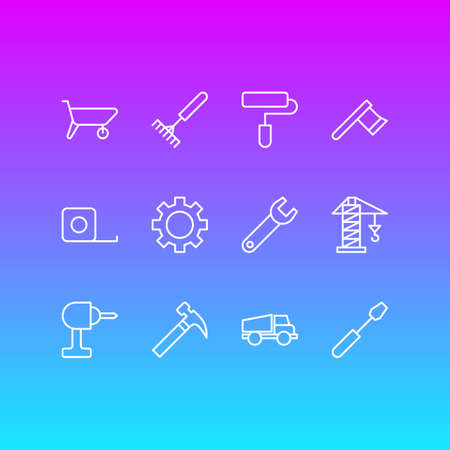 Vector illustration of industry icons line style. Editable set of drill, carrier, gear and other icon elements.