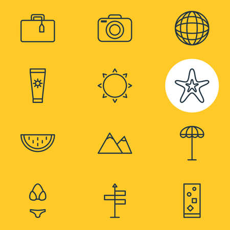 Vector illustration of 12 season icons line style. Editable set of camera, parasol, sun and other icon elements.
