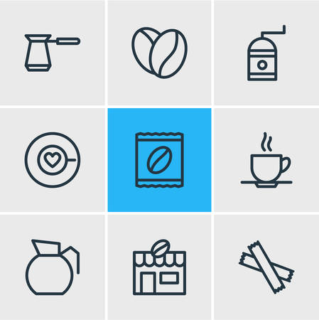 Vector illustration of 9 coffee icons line style. Editable set of seed, cup, turkish and other icon elements. Ilustração