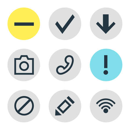 Vector illustration of member icons. Editable set of down, remove, approve and other icon elements.