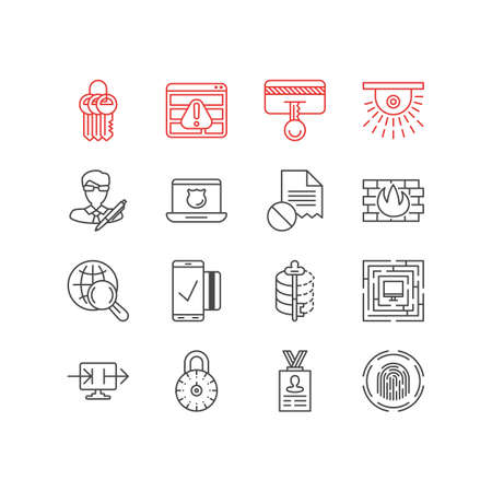 Vector illustration of privacy icons line style. Editable set of strong password, antivirus, damaged file and other icon elements.