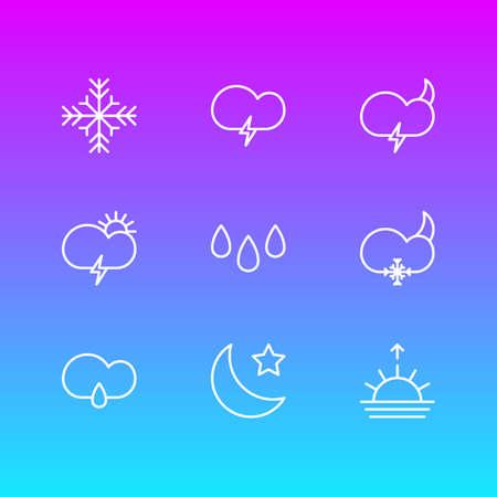 9 날씨 아이콘 선 스타일의 벡터 일러스트 레이 션. 편집 가능한 폭풍, 극단, 날씨 및 기타 아이콘 요소 집합입니다.