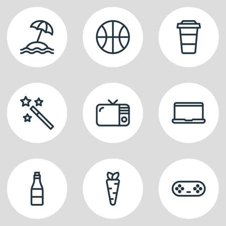 Vector illustration of leisure icons line style. Editable set of notebook, joystick, beverage and other icon elements. Illustration