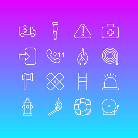 Vector illustration of extra icons line style. Editable set of attention, siren, hose and other icon elements. Illustration