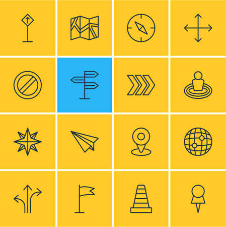 Vector illustration of 16 direction icons line style. Editable set of no entry, navigation, map and other icon elements. Illustration
