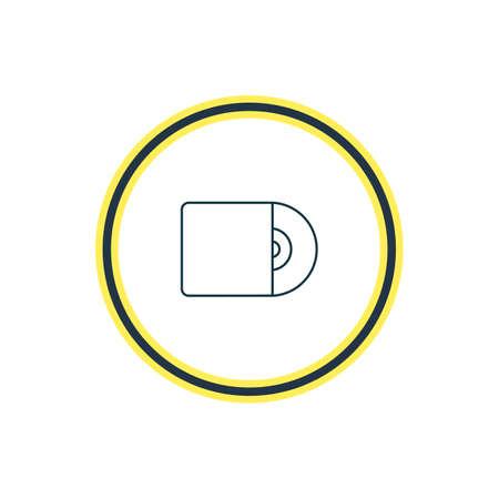 Illustrazione vettoriale della linea icona cd. Anche il bellissimo elemento melodia può essere usato come elemento icona del disco compatto. Archivio Fotografico - 94339781
