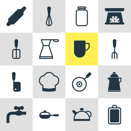 Vector illustration of cooking icons. Editable set of whisk, spatula, waterworks and other icon elements. Illustration
