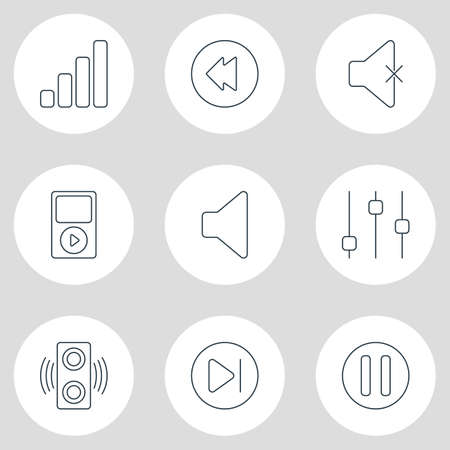 Vector illustration of 9 music icons line style. Editable set of stabilizer, reversing, lag and other icon elements.