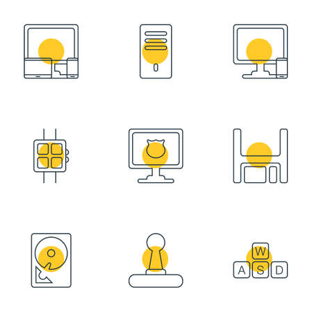 Vector illustration of 9 laptop icons line style. Editable set of protected PC, joystick, phone with PC and other icon elements.