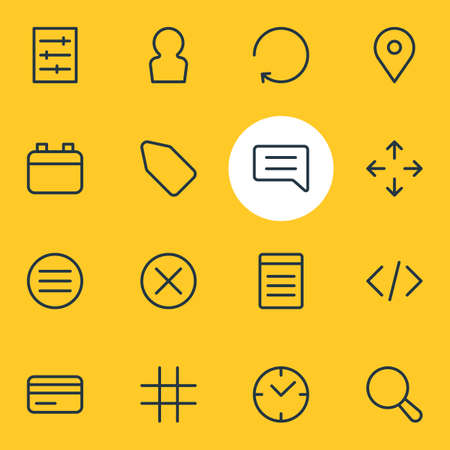 Vector illustration of 16 annex icons line style. Editable set of clock, script, payment and other icon elements.