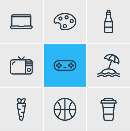 Vector illustration of 9 entertainment icons line style. Editable set of artist, beverage, umbrella and other icon elements. Illustration