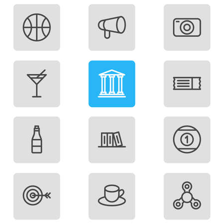 Vector illustration of 12 leisure icons line style. Editable set of cocktail, alcohol, tea and other icon elements. Illustration