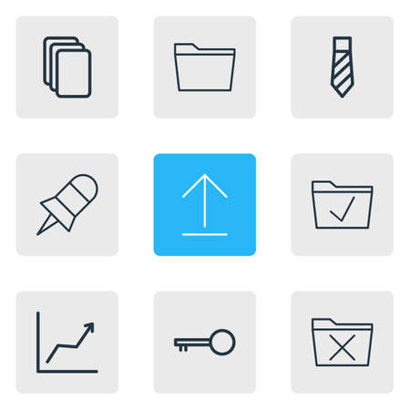 Vector illustration of 9 workplace icons line style. Editable set of uninstall, graph, checked and other icon elements.