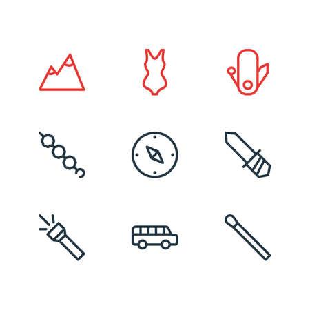 Vector illustration of 9 tourism icons line style. Editable set of landscape, stick, flashlight icon elements. Illustration