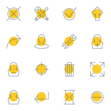 Vector illustration of 16 UI icons line style. Editable set of profile, check, enter and other icon elements.