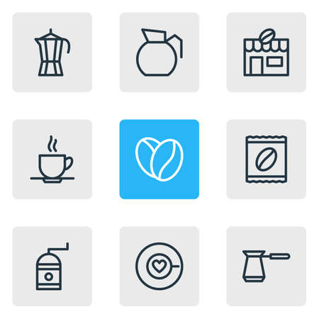 Vector illustration of coffee icons line style. Editable set of house, coffeemaker, package latte and other icon elements.
