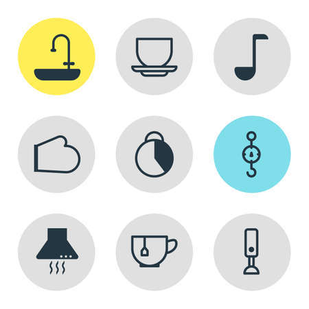 Vector illustration of kitchenware icons. Editable set of stopwatch, kitchen hood, tea cup and other icon elements.