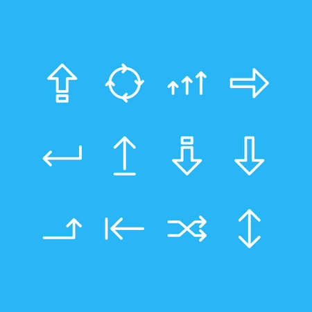 Vector illustration of sign icons line style. Editable set of down, backspace, progress and other icon elements. Illustration