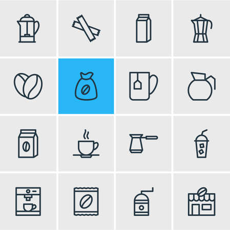 Vector illustration of coffee icons line style. Editable set of sack, tea bag, arabica bean and other icon elements. Ilustração