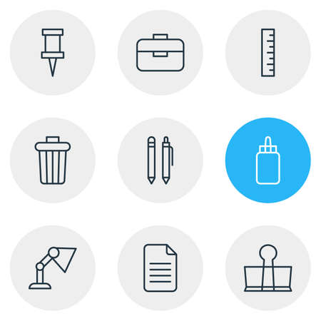 Vector illustration of tools icons line style. Editable set of pin, glue, pen and other icon elements. Stock Illustratie