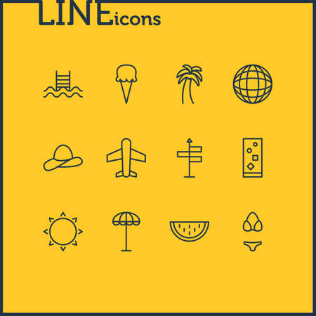 Vector illustration of 12 season icons line style. Editable set of sorbet, guide, airplane and other icon elements.