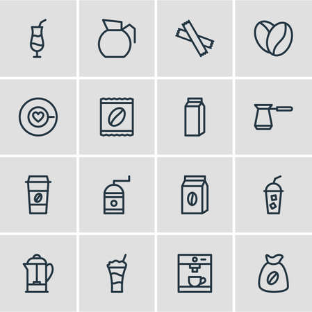 Vector illustration of 16 java icons line style. Editable set of cold drink, pot, sack and other icon elements. Vectores