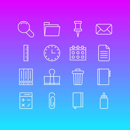 Vector illustration of 16 instruments icons line style. Editable set of envelope, trash bin, clip and other icon elements.
