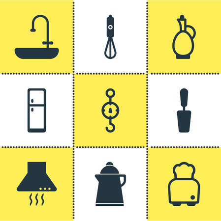 Vector illustration of 9 restaurant icons. Editable set of scales, decanter, blender and other icon elements.