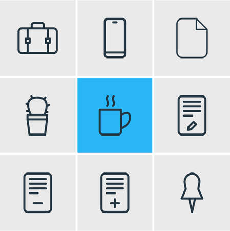 Vector illustration of workplace icons line style. Editable set of deleting, pin, computer and other icon elements.