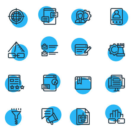 Vector illustration of 16 advertising icons line style. Editable set of blog commenting, sitemap, bug fixing and other icon elements.