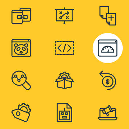 Vector illustration of advertising icons line style. Editable set of press release, game developing, traffic conversion and other icon elements. Vettoriali