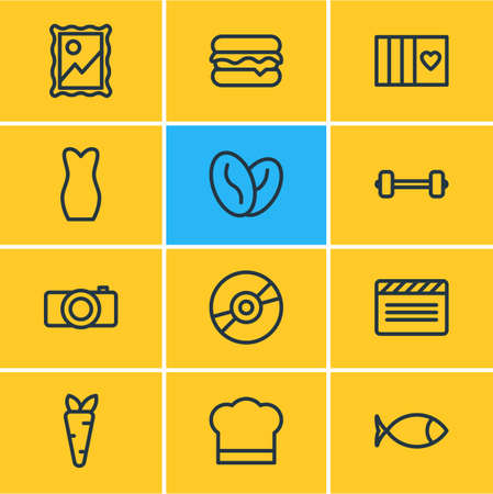 Vector illustration of entertainment icons line style. Editable set of veggie, arabica bean, barbell and other icon elements. Vectores