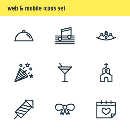 Vector illustration of events icons line style. Editable set of people, mask, beverage and other icon elements. Ilustração