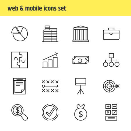 illustration of 16 management icons line style. Editable set of pie, document, strategy and other icon elements.