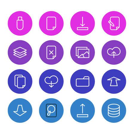 illustration of 16 memory icons line style. Editable set of database, upload, category and other icon elements.