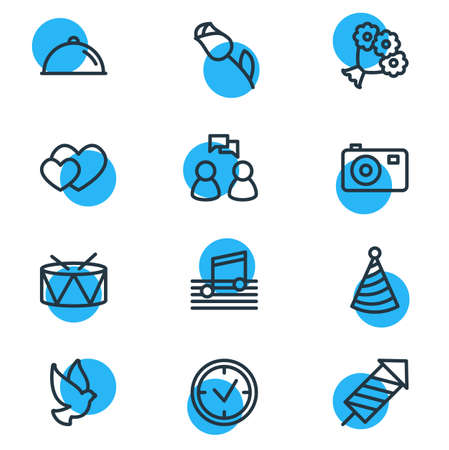 Vector illustration of events icons line style. Editable set of heart gift, conversation, balloon and other icon elements. Banque d'images - 97272056