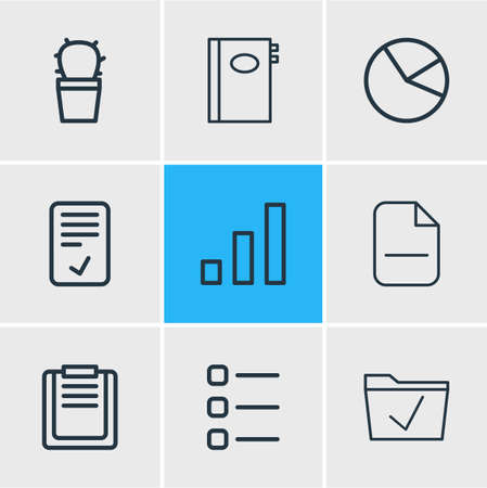 illustration of 9 workplace icons line style. Editable set of smartphone, search, removing and other icon elements.