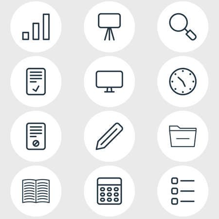 illustration of 12 office icons line style. Editable set of briefcase, mail, printer and other icon elements.