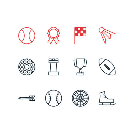 Vector illustration of 12 fitness icons line style.